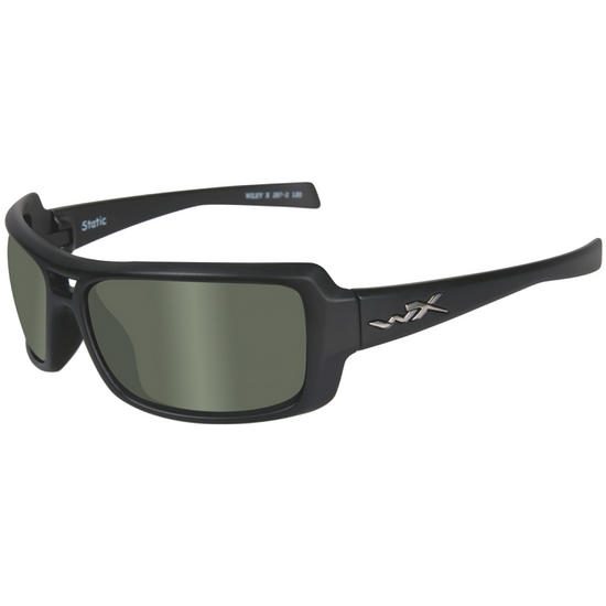 Wiley X WX Static Glasses - Polarised Smoke Green Lens / Matte Black Frame