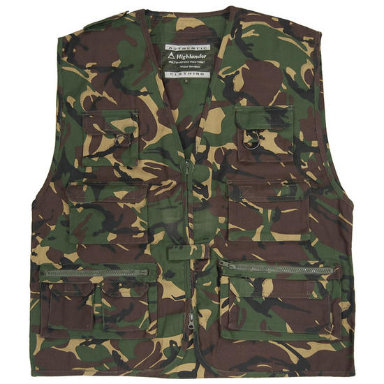 Highlander Multi-Pocket Fishing Vest DPM Camo