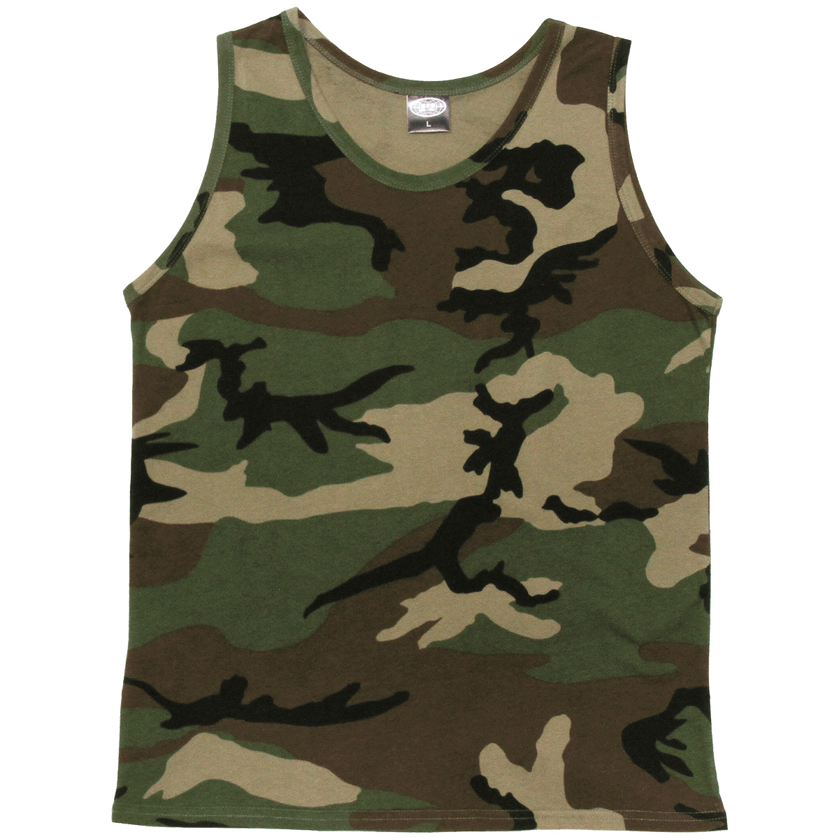 ARMY COMBAT TANK TOP MILITARY CADET MENS VEST COTTON SINGLET WOODLAND CAMO S-XXL