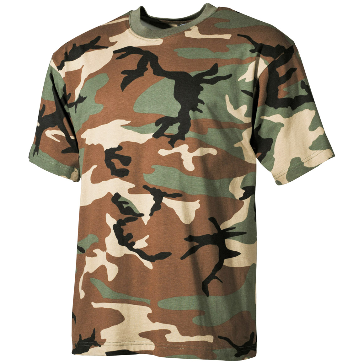 US Military Style Top Army Hunting Woodland Camo Tee Mens ...