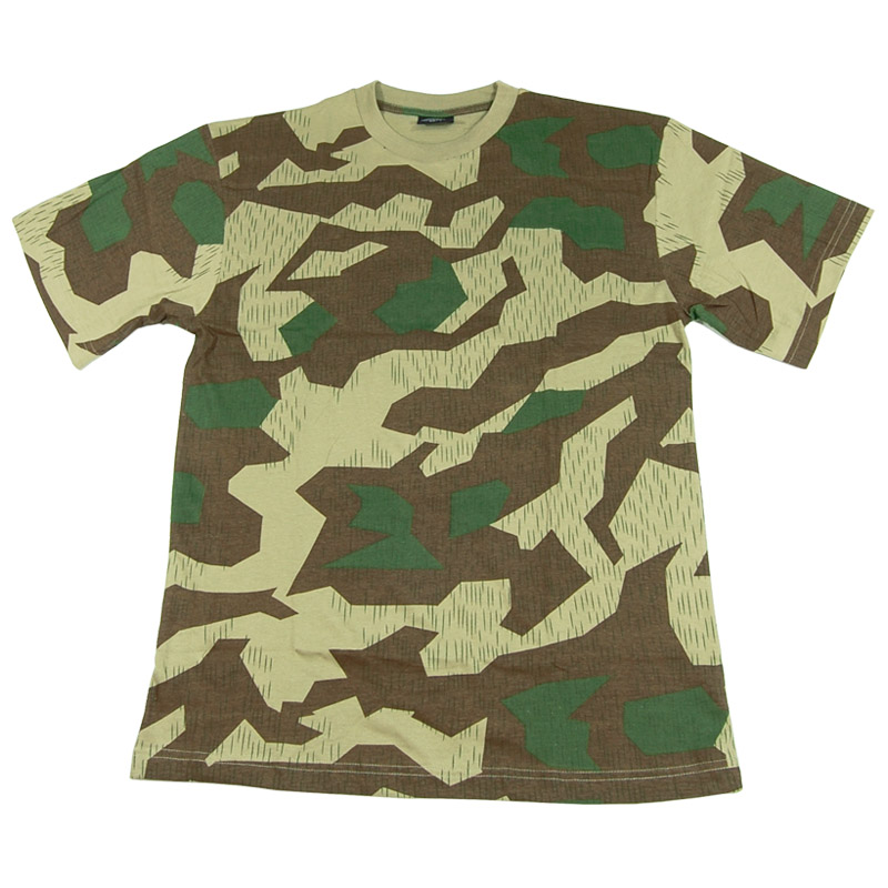GERMAN CAMOUFLAGE ARMY T-SHIRT MILITARY MENS TOP SPLINTER CAMO COMBAT TEE S-XXL