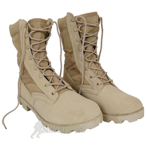 US Army Desert Combat Jungle Patrol Mens Boots Tan Suede Leather ...