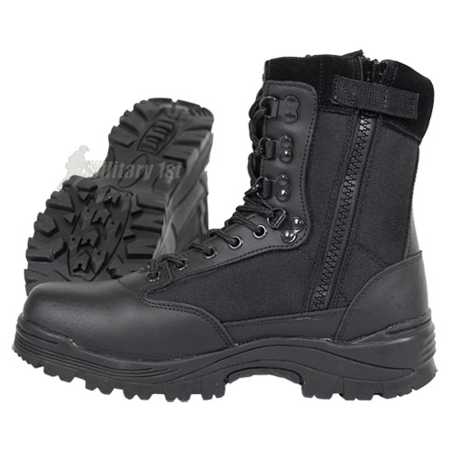 TACTICAL SIDE ZIP SECURITY POLICE COMBAT BOOTS ARMY MENS SHOES BLACK 5-13 UK