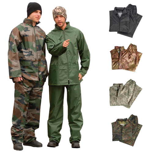 WATERPROOF RAIN SUIT SET HOODED JACKET & TROUSERS S-3XL