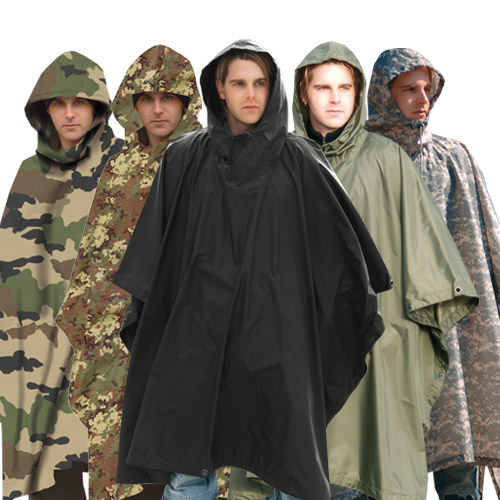 WATERPROOF HOODED US ARMY RIPSTOP FESTIVAL RAIN PONCHO