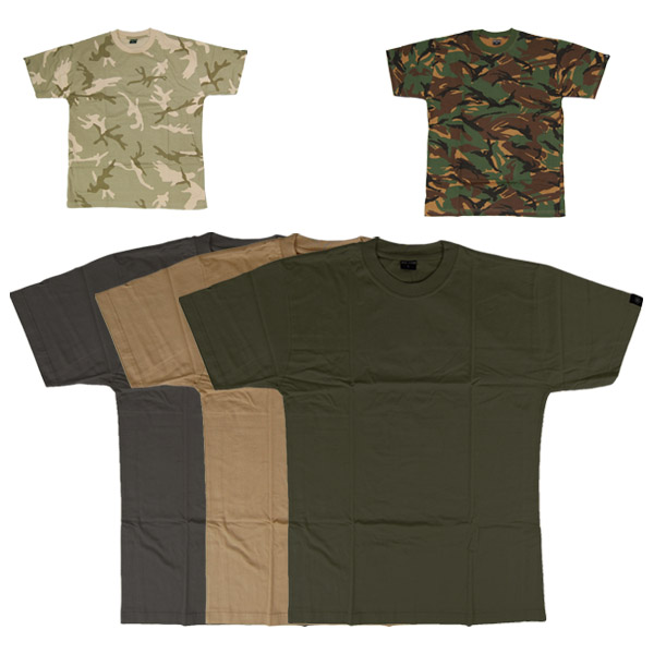MENS COMBAT PLAIN & ARMY BRITISH CAMO T-SHIRT TOP S-XXL
