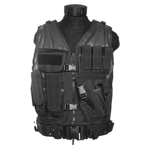 US ARMY AIRSOFT USMC TACTICAL ASSAULT COMBAT MILITARY VEST POUCHES HOLSTER BLACK
