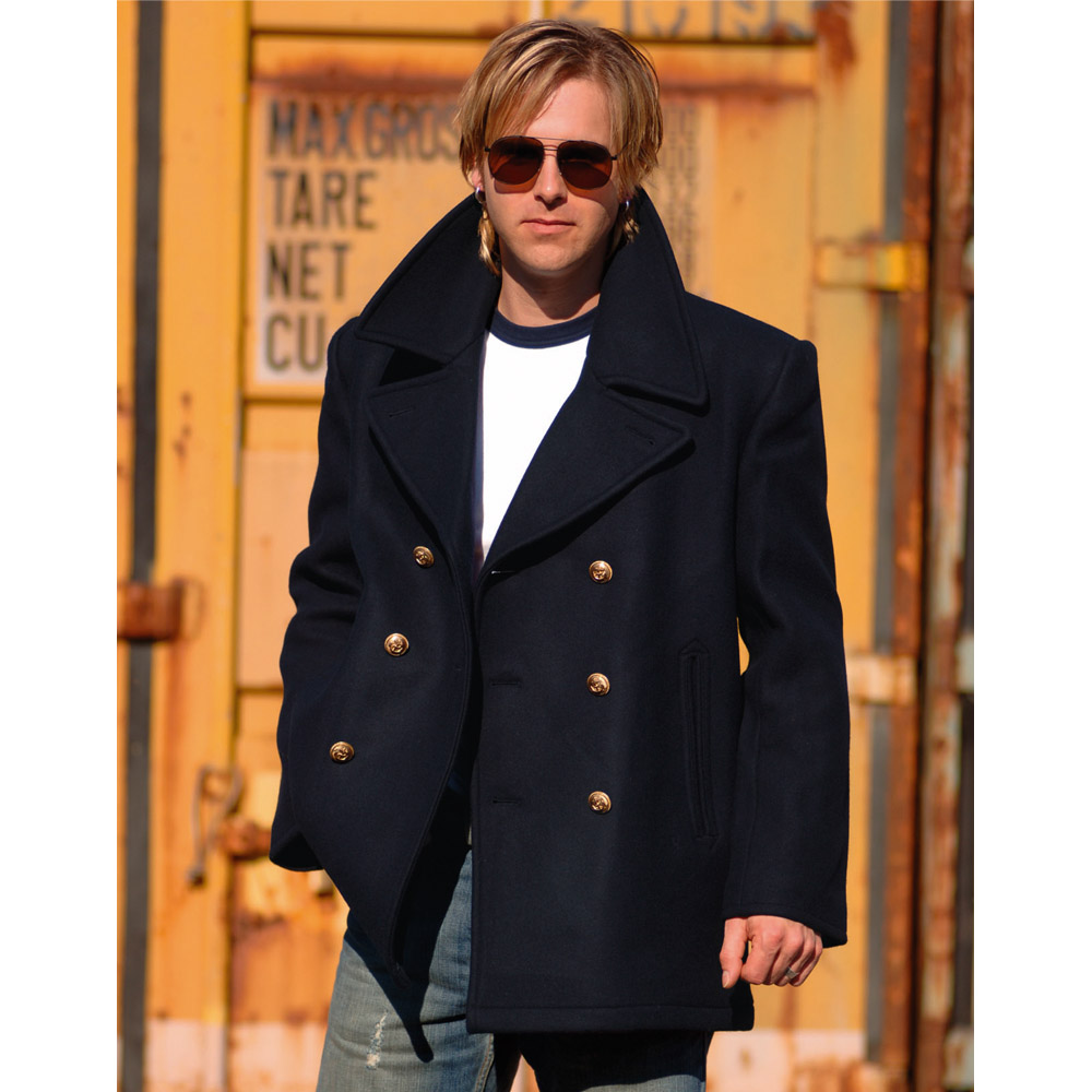 Mens Navy Blue Pea Coat - Tradingbasis