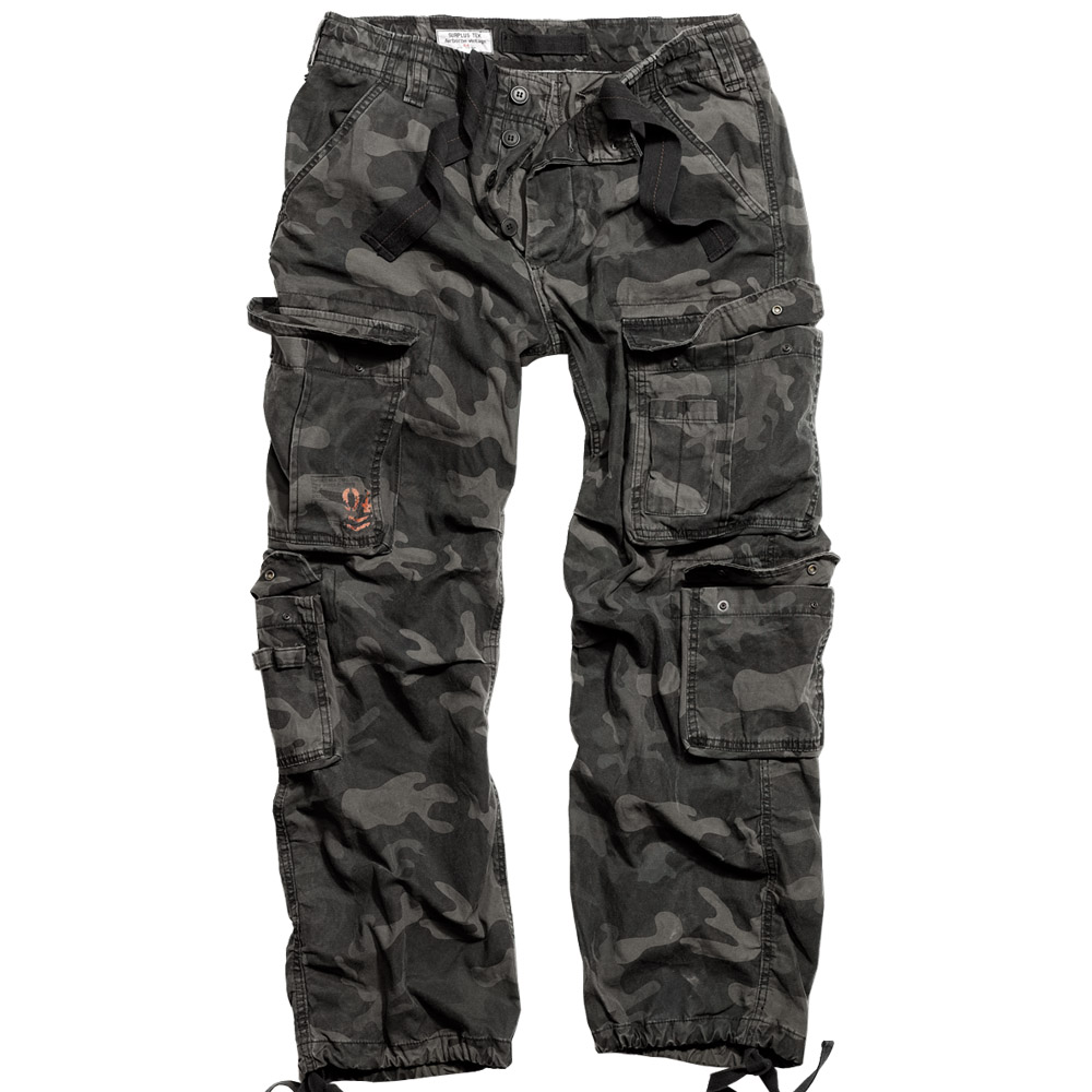 SURPLUS-AIRBORNE-MENS-BAGGY-TROUSERS-COMBAT-ARMY-WORK-PANTS-BLACK-CAMO-PATTERN