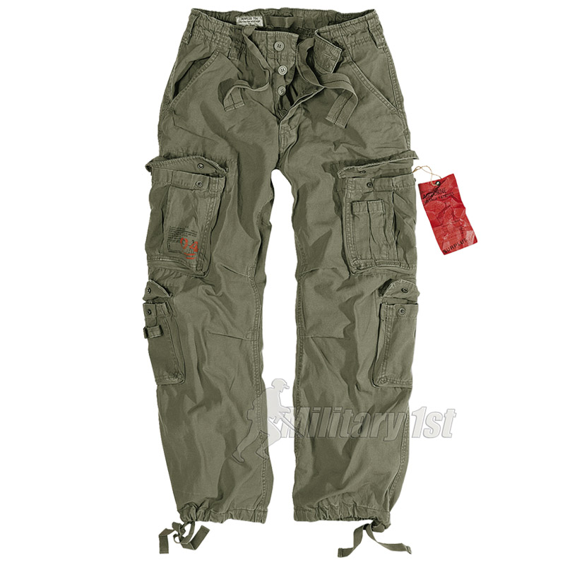 SURPLUS MENS COMBATS TROUSERS WORK WEAR ARMY CARGO PANTS VINTAGE OLIVE  30