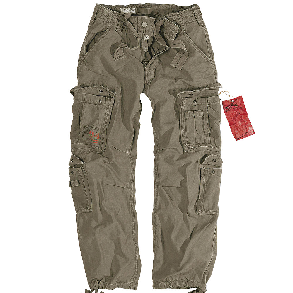 "SURPLUS MENS COMBATS TROUSERS WORK WEAR ARMY CARGO PANTS VINTAGE OLIVE 30""-50"""