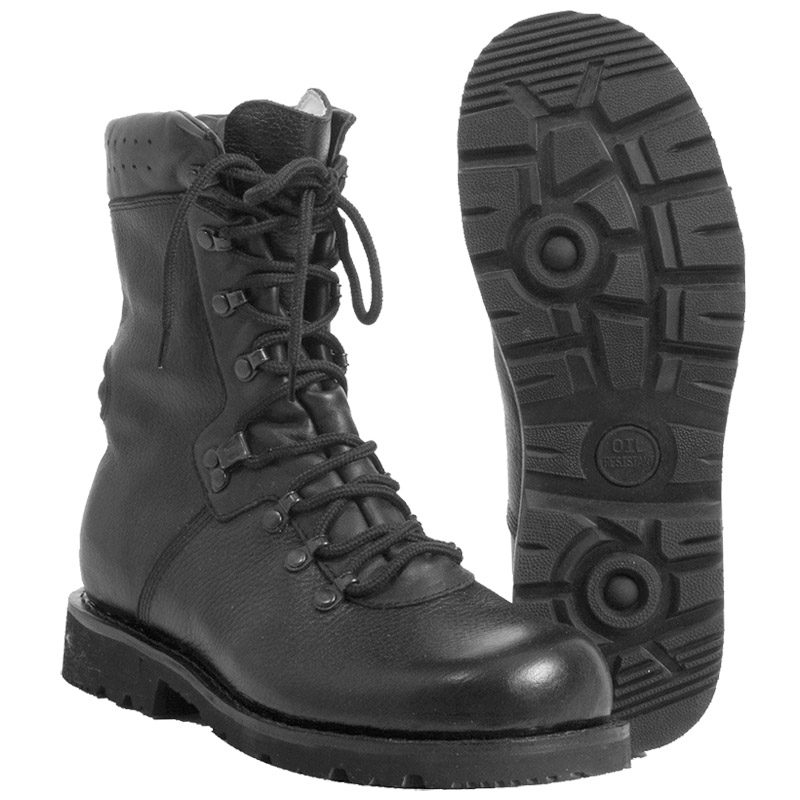 German Army Combat Military Black Mens Police Cadet Leather Boots ...