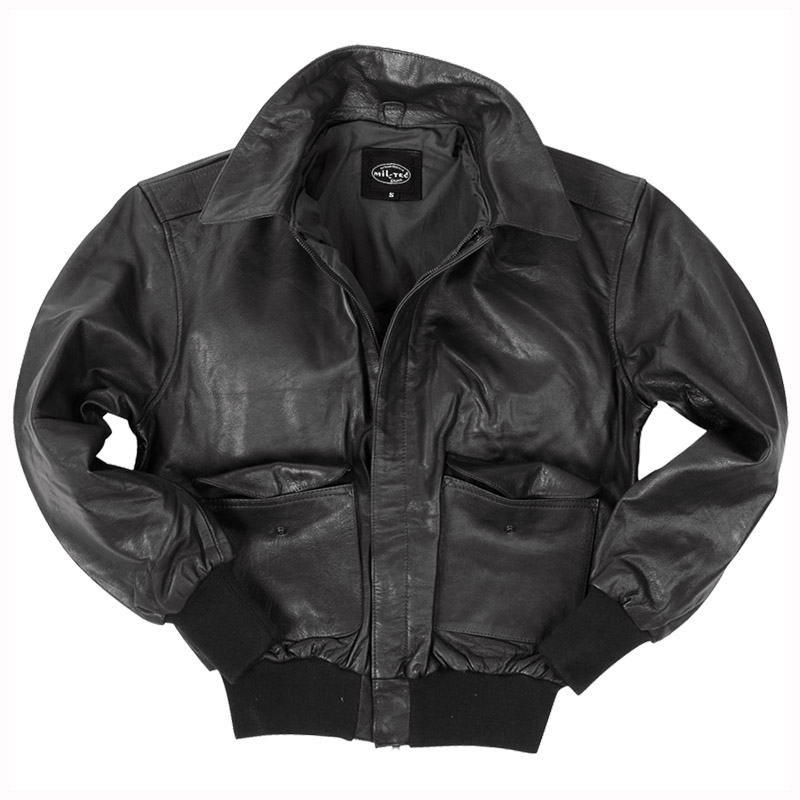 US MILITARY CLASSIC PILOT BOMBER A2 FLIGHT LEATHER MENS SHORT JACKET BLACK S-3XL