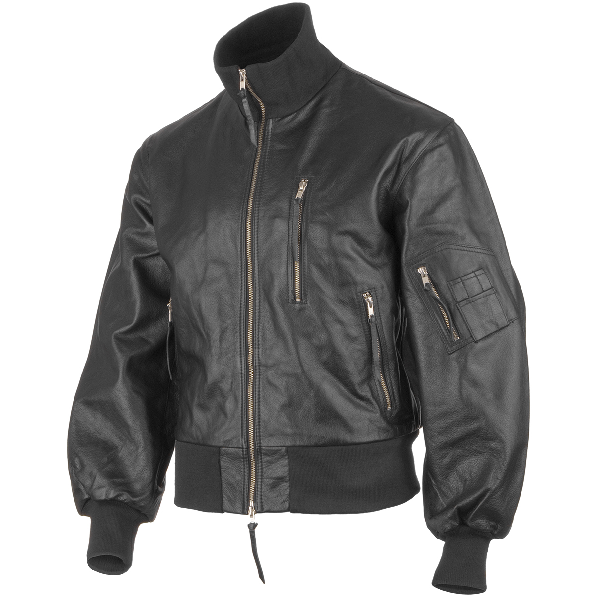 Mil-Tec German Army Leather Flight Jacket Black | Flight ...
