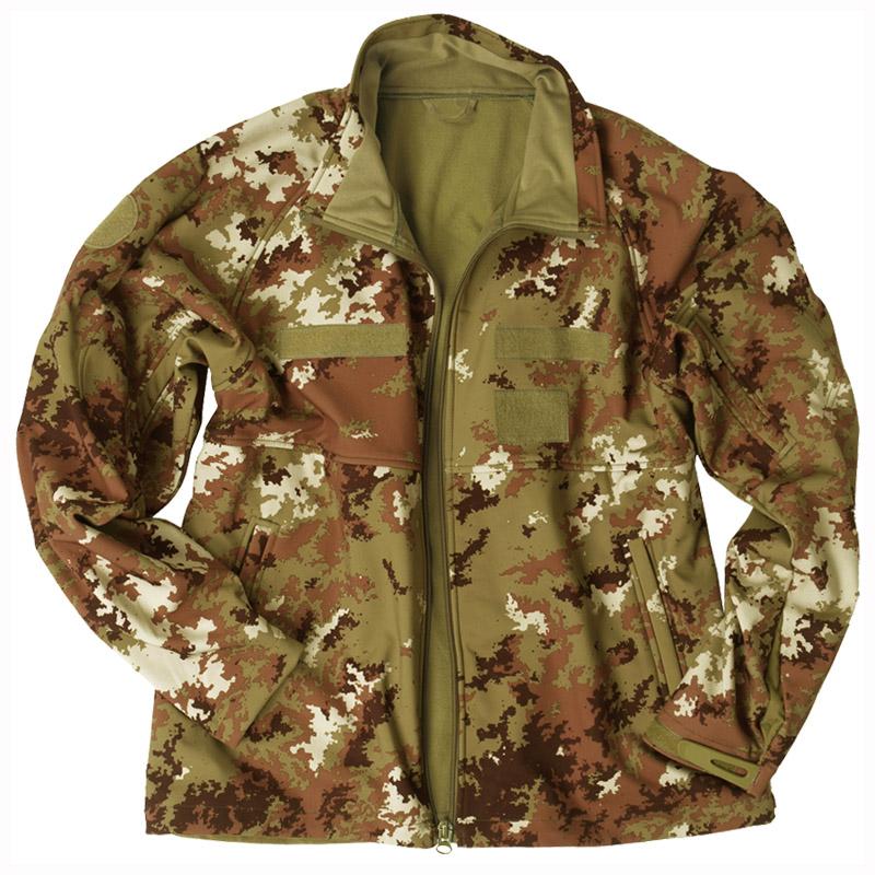 MILITARY SOFT SHELL WINDPROOF MENS JACKET ARMY COAT VEGETATO WOODLAND CAMO S-3XL