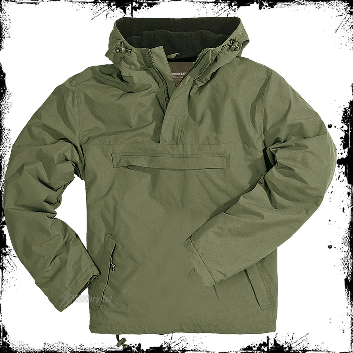WINDBREAKER-HOODED-MENS-WIND-RAIN-JACKET-WITH-WARM-FLEECE-SURPLUS-OLIVE-S-XXL