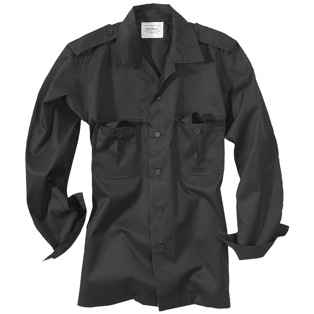 SECURITY ARMY LONG-SLEEVED MENS WORK SHIRT BLACK S-XXL