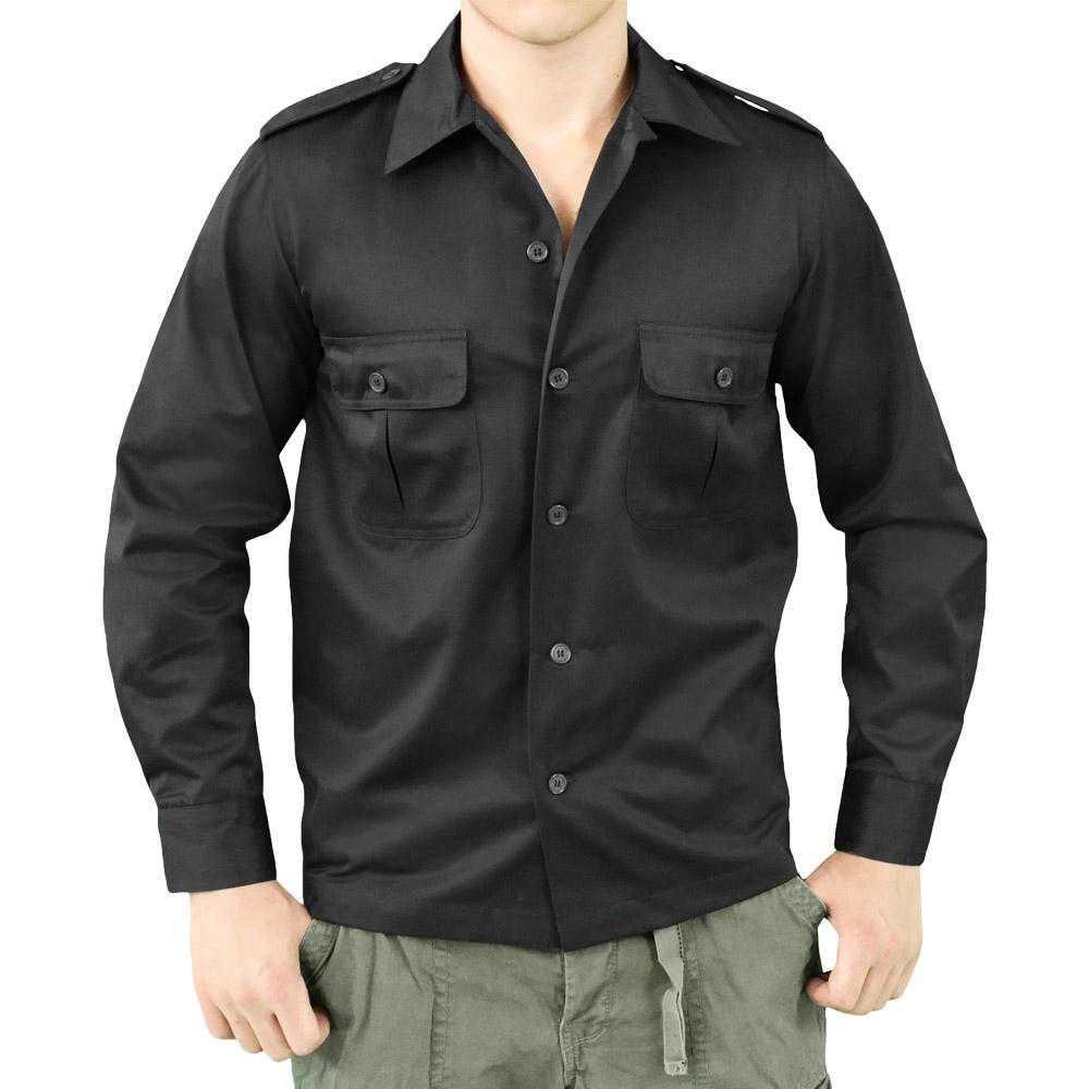 Surplus security guard tactical mens work shirt long for Black long sleeve work shirt