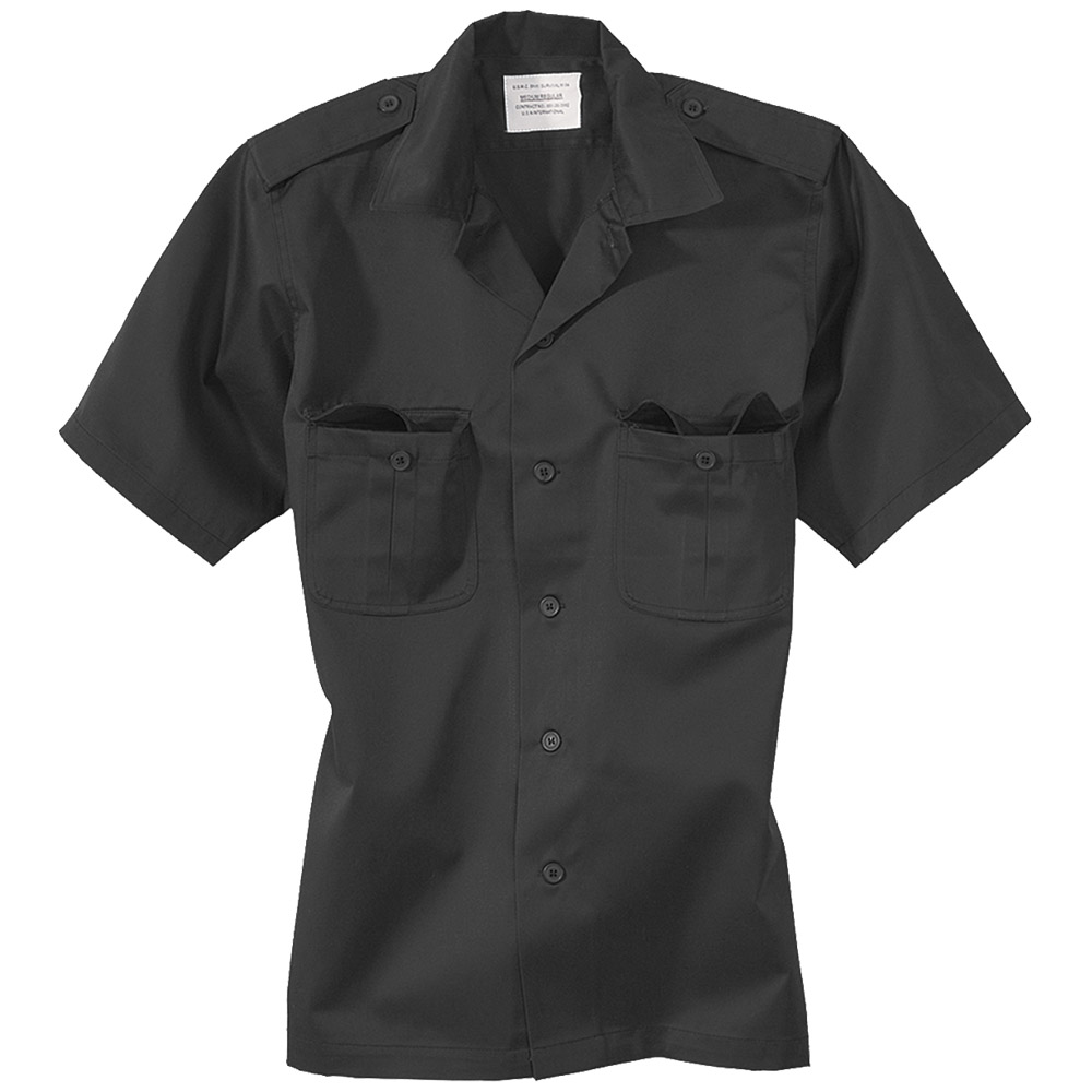 SURPLUS ARMY COMBAT TACTICAL SECURITY WORK SHORT-SLEEVED MENS SHIRT BLACK S-XXL