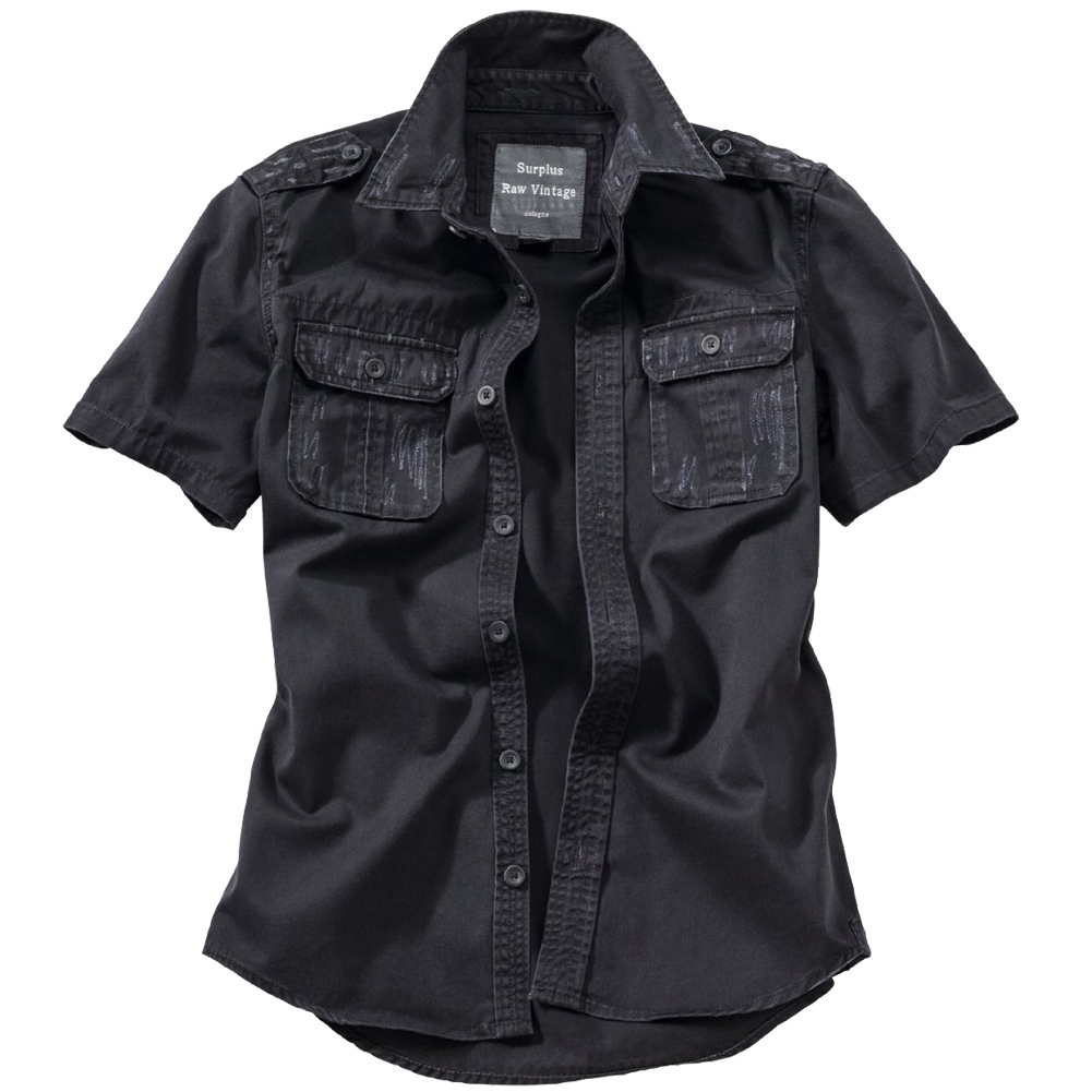 SURPLUS RAW VINTAGE CLASSIC STYLE MENS SHIRT SHORT-SLEEVED COTTON BLACK S-XXL