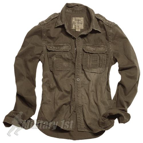 Surplus military mens shirt vintage look long sleeve 100 for Mens military style long sleeve shirts