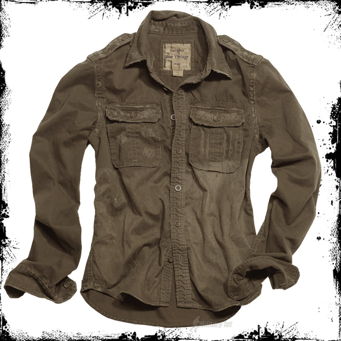Army vintage look mens long sleeve shirt olive od s xxl ebay for Mens military style long sleeve shirts