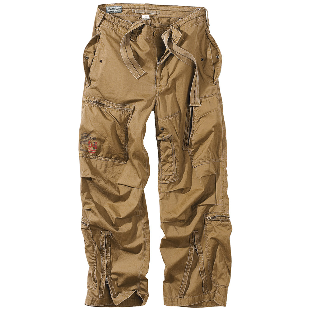 Cargo pants or cargo trousers, also sometimes called combat trousers (or combat pants) after their original military purpose, are loosely cut pants originally designed for tough, outdoor activities, and whose design is distinguished by one or more cargo pockets. Cargo pants have become popular in urban areas as well, since they are convenient for carrying items during day trips on foot.