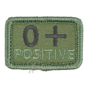 Helikon Blood Type Velcro Patch 0+ Olive Set of 2
