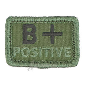 Helikon Blood Type Velcro Patch B+ Olive Set of 2