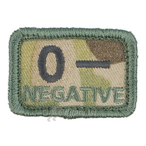Helikon Blood Type Velcro Patch 0- MultiCam Set of 2