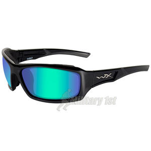 Wiley X WX Echo Glasses - Polarised Emerald Mirror Lens / Gloss Black Frame