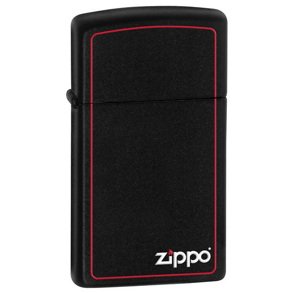 Zippo Logo Slim Black Matte Lighter