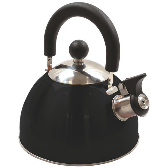 Highlander Deluxe Stainless Steel Whistling Kettle Black