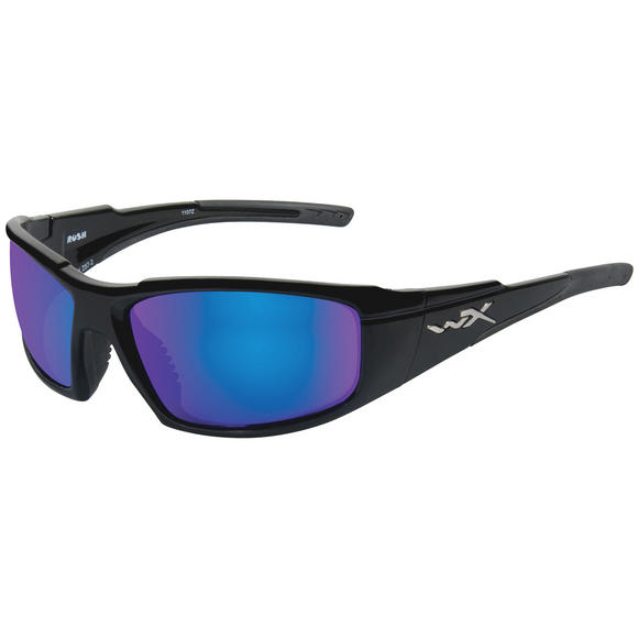 Wiley X WX Rush Glasses - Polarised Blue Mirror Lens / Gloss Black Frame