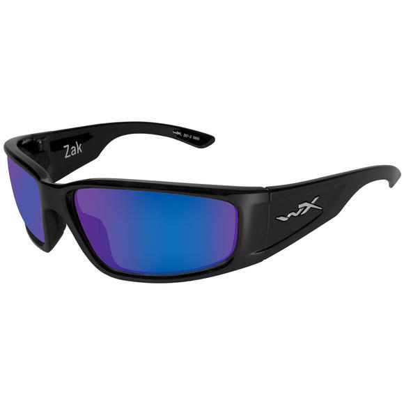 Wiley X Zak Glasses - Polarised Blue Mirror Lens / Gloss Black Frame