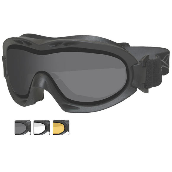 Wiley X Nerve Goggles - Dual Smoke Grey + Clear + Light Rust Lens / Black