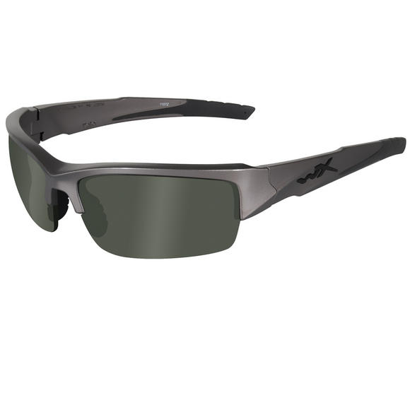 Wiley X WX Valor Glasses - Polarised Smoke Green Lens / Metallic Silver Frame