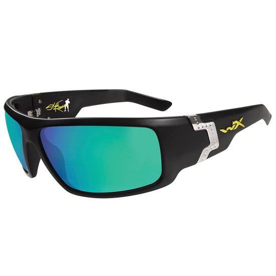 Wiley X Xcess Glasses - Polarised Emerald Mirror Lens / Gloss Black Frame