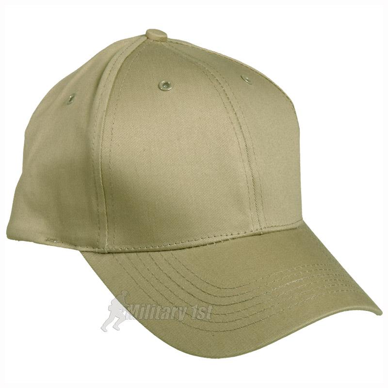 mil tec baseball cap with plastic band khaki