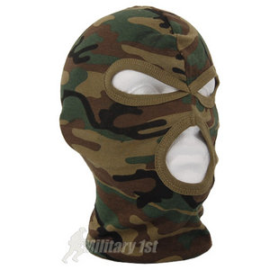 Lightweight Cotton 3 Hole Balaclava Woodland