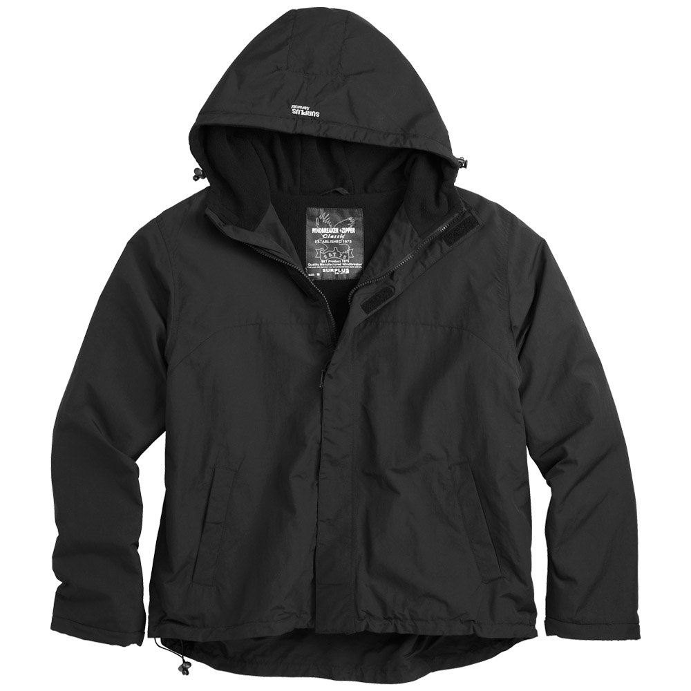 Surplus Windbreaker Jacket with Zipper Black | Other | Military 1st