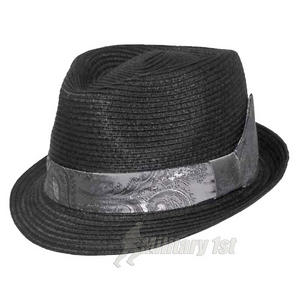 Fox Outdoor Players Hat Thin Brim Black White-Black Corded Ribbon