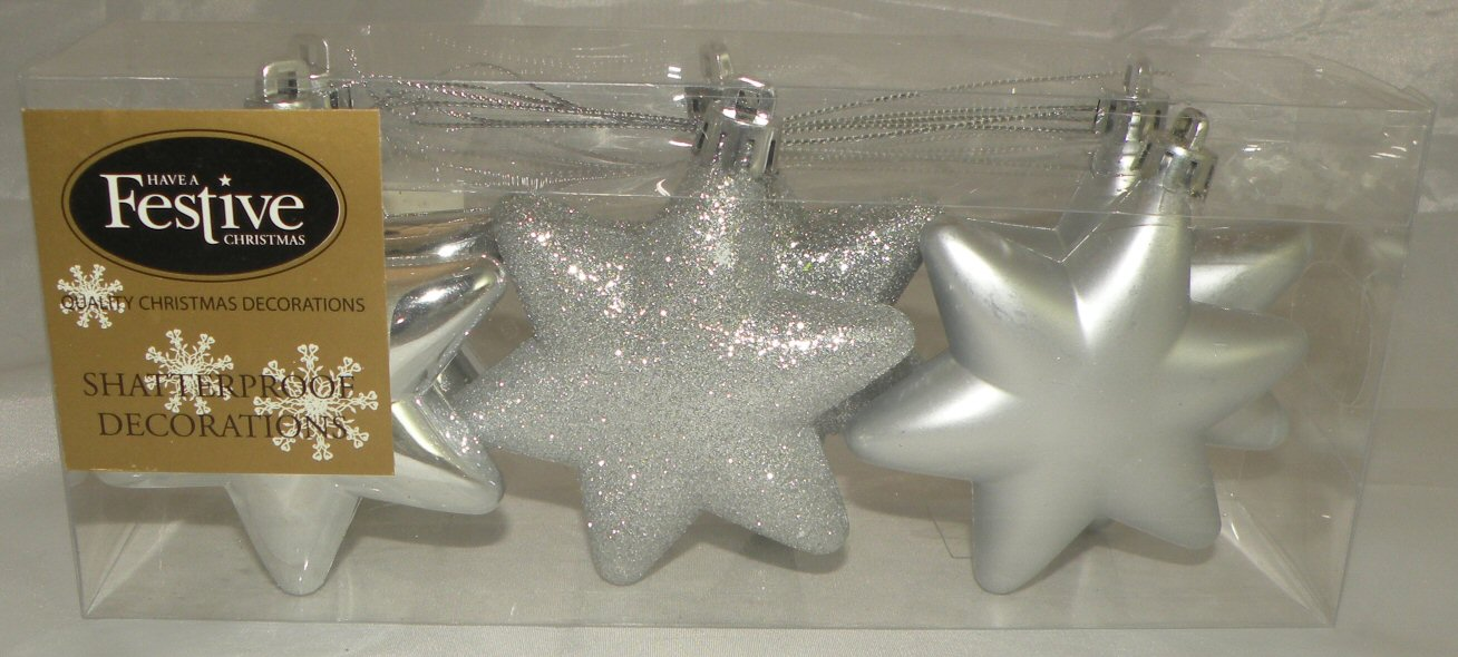 Shatterproof Christmas Star Decorations *Silver* Size 7cm Festive Tree Home Fun