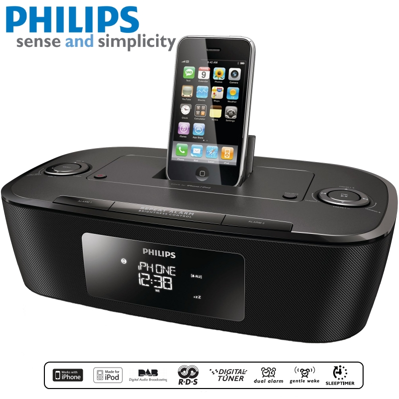 philips dcb242 clock radio dock system for ipod iphone alarm digital tune. Black Bedroom Furniture Sets. Home Design Ideas