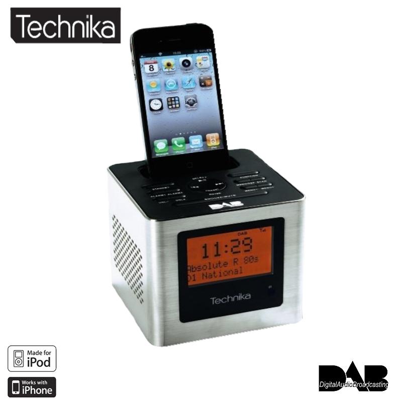 technika cube dab alarm clock radio ipod dock silver brand new in box ebay. Black Bedroom Furniture Sets. Home Design Ideas