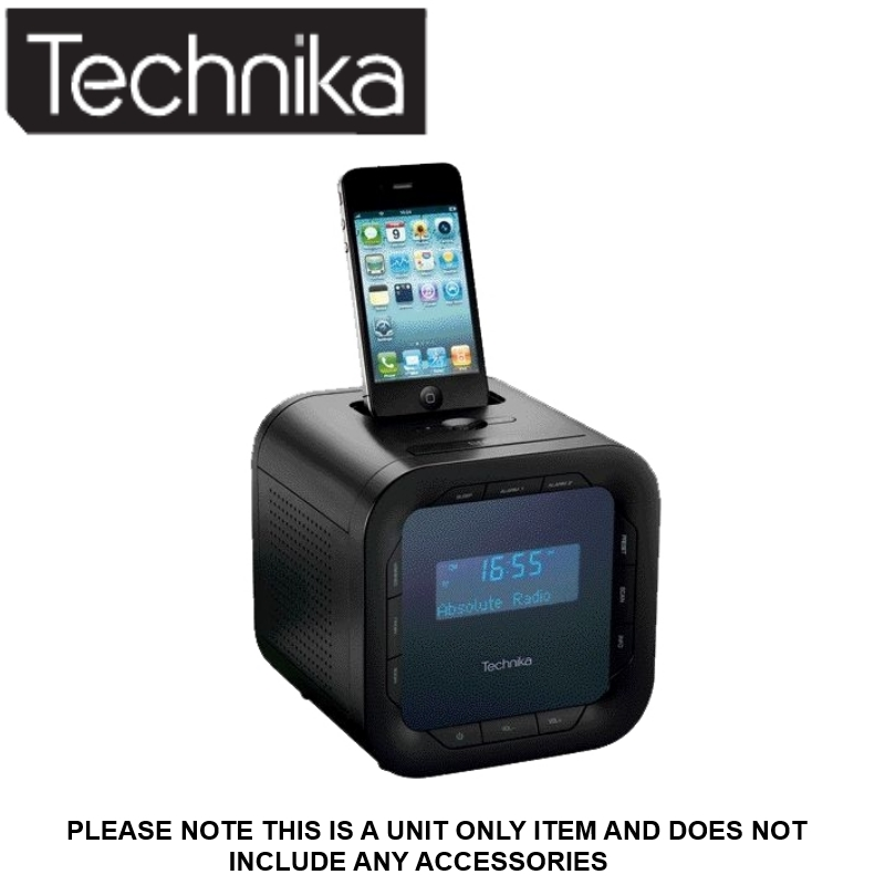 technika dab124v ipod iphone dock dab clock radio lcd missing accessories. Black Bedroom Furniture Sets. Home Design Ideas