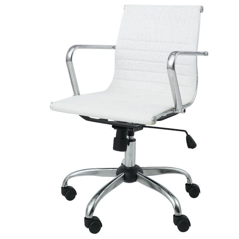 MONROE OFFICE CHAIR - IVORY LEATHER EFFECT, SWIVEL SEAT, CHROME