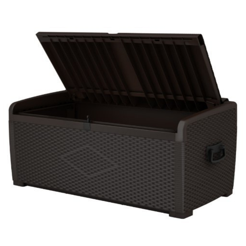 KETER XL RATEN STYLE XL GARDEN STORAGE BOX EASY TO ASSEMBLE LOCKABLE