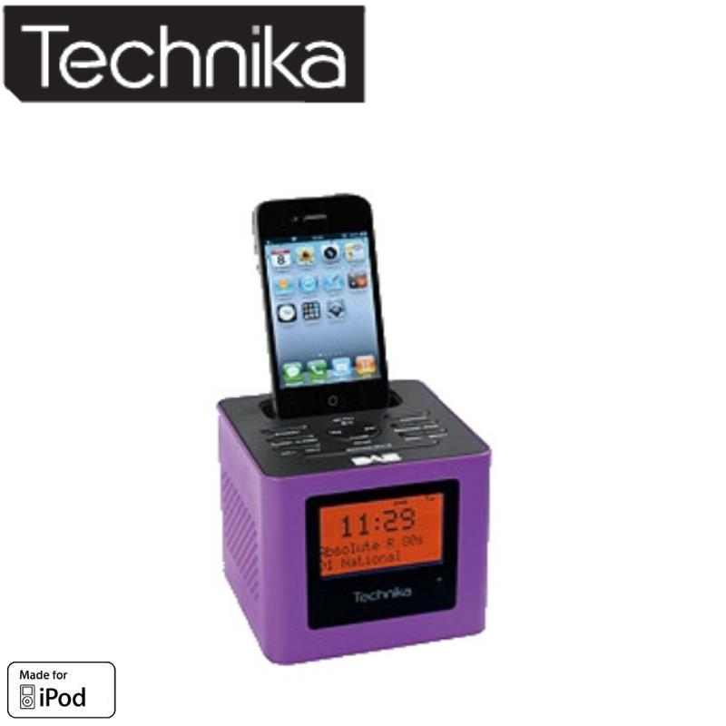 technika cr211 sp cube dab alarm clock radio ipod dock purple. Black Bedroom Furniture Sets. Home Design Ideas