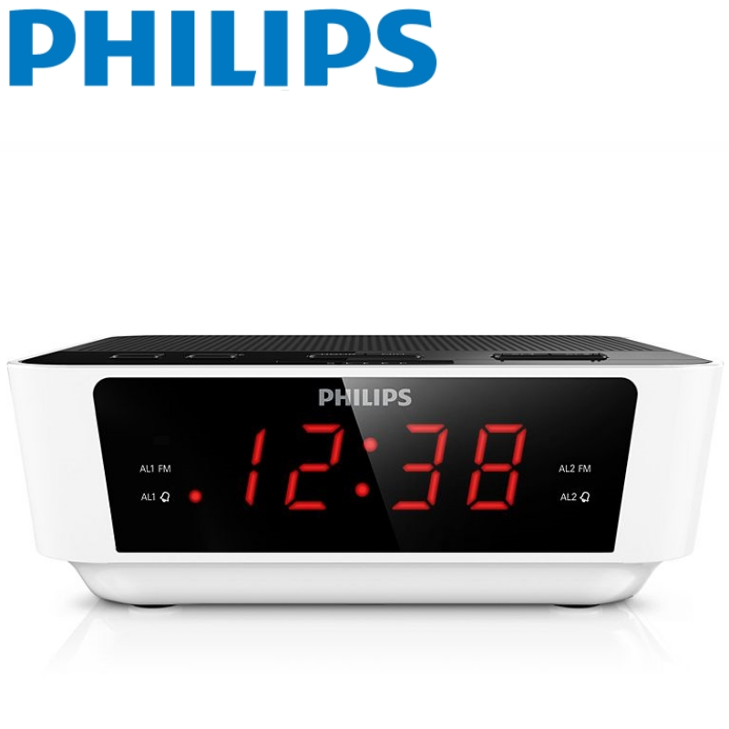 philips radio aj3115 digital tuning clock radio fm big display sleep timer white. Black Bedroom Furniture Sets. Home Design Ideas